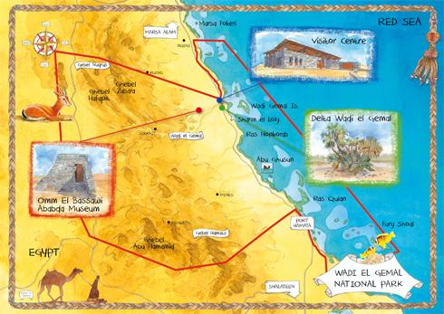 Mappa per il Parco Naturale Wadi el Gimal, Egitto