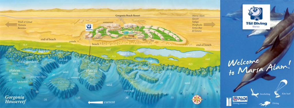 Marsa Alam, Mar Rosso, brochure, concept + illustrazione + grafica per TGI diving
